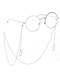 Fashion Silver Metal Color-protected Hollow Five-star Glasses Chain