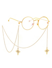 Fashion Gold Non-slip Metal Cross Star Glasses Chain