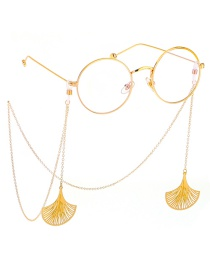 Fashion Gold Non-slip Metal Fan-shaped Leaf Glasses Chain