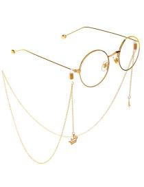 Fashion Gold Non-slip Metal Princess Crown Glasses Chain