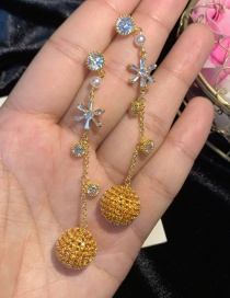 Fashion Yellow 925 Silver Needle Color Small Micro-inlaid Zircon Tassel 18k Gold Earrings