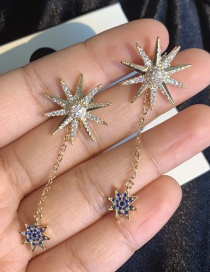Fashion Gold S925 Silver Needle Sun Flower Tassel Bastard Star Before And After 2 Earrings