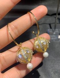 Fashion White S925 Silver Needle Zircon Love Ball Earrings