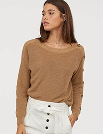 Fashion Khaki One-shoulder Button-knit Pullover