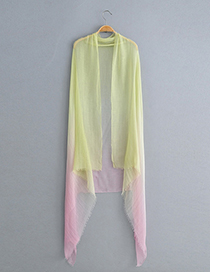 Fashion Yellow + Pink Gradient Silk Scarf Sunscreen Shawl