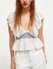 Fashion Blue And White Openwork Embroidered Top