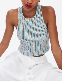 Fashion Blue Striped Print Vest
