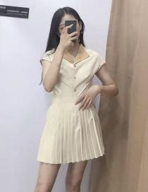 Fashion Beige Pleated Skirt