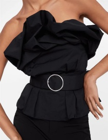 Fashion Black Belted Tight-fitting Tube Top