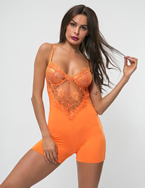 Fashion Orange Lace Hook Flower Strapless Backless One-piece Suit