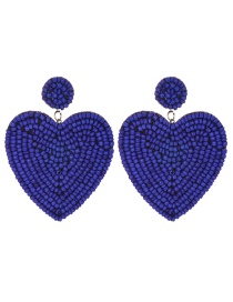 Fashion Royal Blue Felt Cloth Rice Beads Love Earrings
