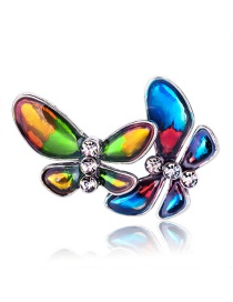 Fashion Ancient Silver Alloy Drop Oil Butterfly Brooch