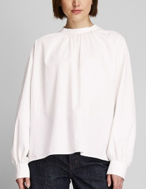 Fashion White Cotton High Collar Pleated Top