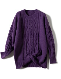 Fashion Purple Hollow Twist Sweater