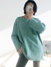 Fashion Green Striped Pullover