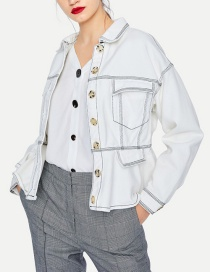 Fashion White Car Line Lapel Denim Jacket