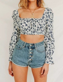 Fashion Blue Floral Print Puff Sleeve Top