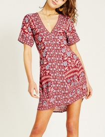 Fashion Red White Orchid Print Dress