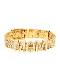 Fashion Gold Micro-inlaid Zircon Letter Stainless Steel Gold Color Bracelet