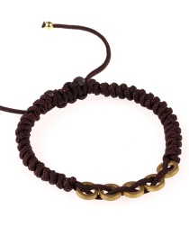Fashion Coffee Color Woven Circle Pull Bracelet