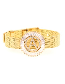 Fashion Gold Micro-inlaid Zircon Letter A Real Gold Color Bracelet