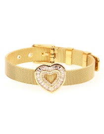 Fashion Gold Micro-inlaid Zircon Heart-shaped Gold-colored Bracelet