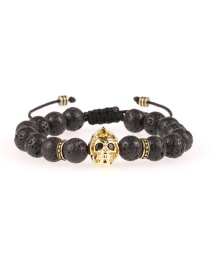 Fashion Gold 8mm Volcanic Rock Micro-inlaid Ghost Head Beaded Pull Bracelet