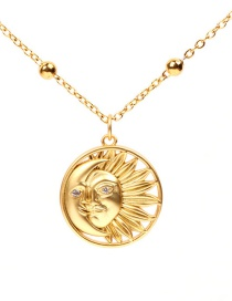 Fashion Gold Frosted Micro-encrusted Sun And Moon Necklace