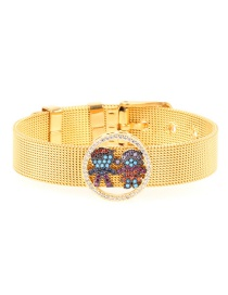 Fashion Gold Micro-inlaid Zircon Boy Girl Real Gold Color Bracelet