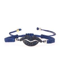 Fashion Ink-blue Colour Braided Mouth Micro-inlaid Zircon Bracelet