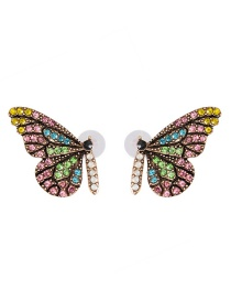 Fashion Powder Color Butterfly Glass Drill Earrings