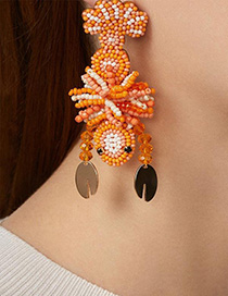 Fashion Orange Alloy Rice Beads Lobster Earrings
