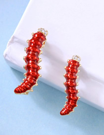 Fashion Red Alloy Diamond Insect Brooch