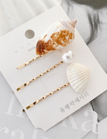 Fashion Shell Imitation Pearl Hairpin [3] Shell Starfish Hairpin