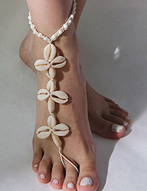 Fashion White Flower Geometric Beaded Woven Shell Cotton Wax Line Anklet