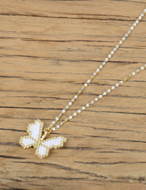 Fashion White Rice Beads Woven Small Butterfly Necklace