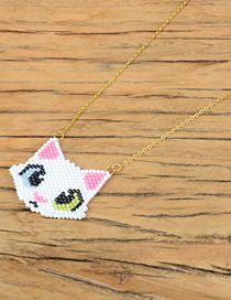 Fashion White Rice Beads Woven Kitten Head Stainless Steel Plated Necklace