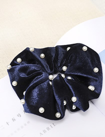 Fashion Navy Blue Gold Velvet Fabric Nail Pearl Hair Ring
