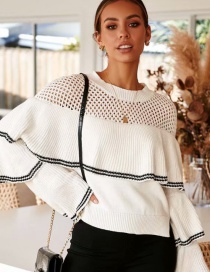 Fashion White Knitted Cutout Ruffled Top