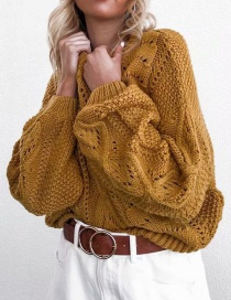 Fashion Ginger Yellow Knitted Openwork Top