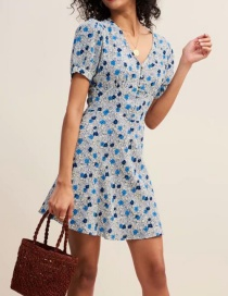 Fashion Blue V-neck Print Dress