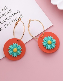 Fashion Orange Red Circle Geometric Round Stereo Daisy Earrings