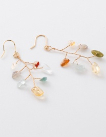 Fashion Color Irregular Stone Branch Earrings
