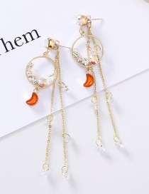 Fashion Gold 925 Silver Studded Diamond Ring Star Crystal Tassel Earrings