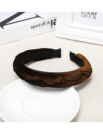 Fashion Brown Gold Velvet Twist Braid Headband