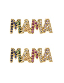 Fashion Gold Copper Inlaid Zircon Letter Mama Earrings