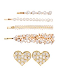 Fashion Gold Alloy Pearl Rhinestone Hairpin Love Stud Earrings 6 Piece Set