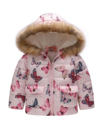 Fashion Foundation Butterfly Printed Hooded Children's Cotton Coat