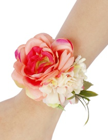 Fashion Orange Powder + Rice Flower Woven Open Bracelet