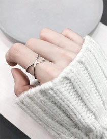 Fashion Steel Color Cross Stainless Steel Glossy Open Ring
